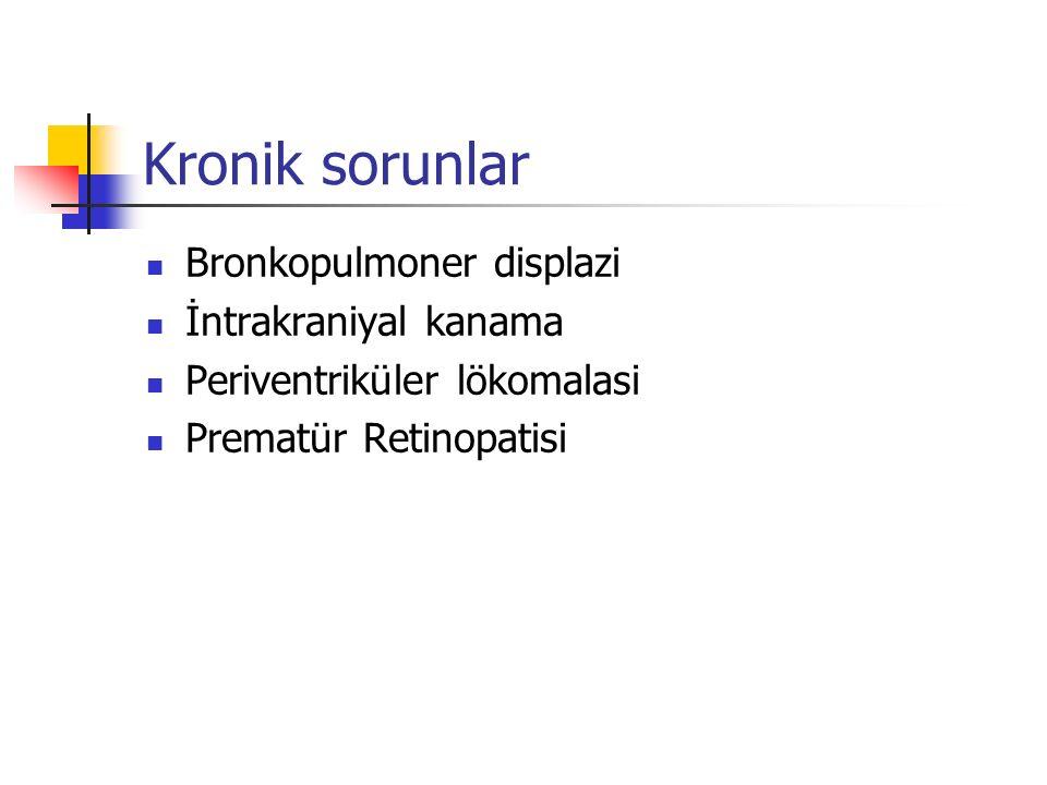 Kronik sorunlar Bronkopulmoner displazi İntrakraniyal kanama Periventriküler lökomalasi Prematür Retinopatisi