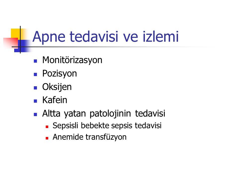 Apne tedavisi ve izlemi Monitörizasyon Pozisyon Oksijen Kafein Altta yatan patolojinin tedavisi Sepsisli bebekte sepsis tedavisi Anemide transfüzyon