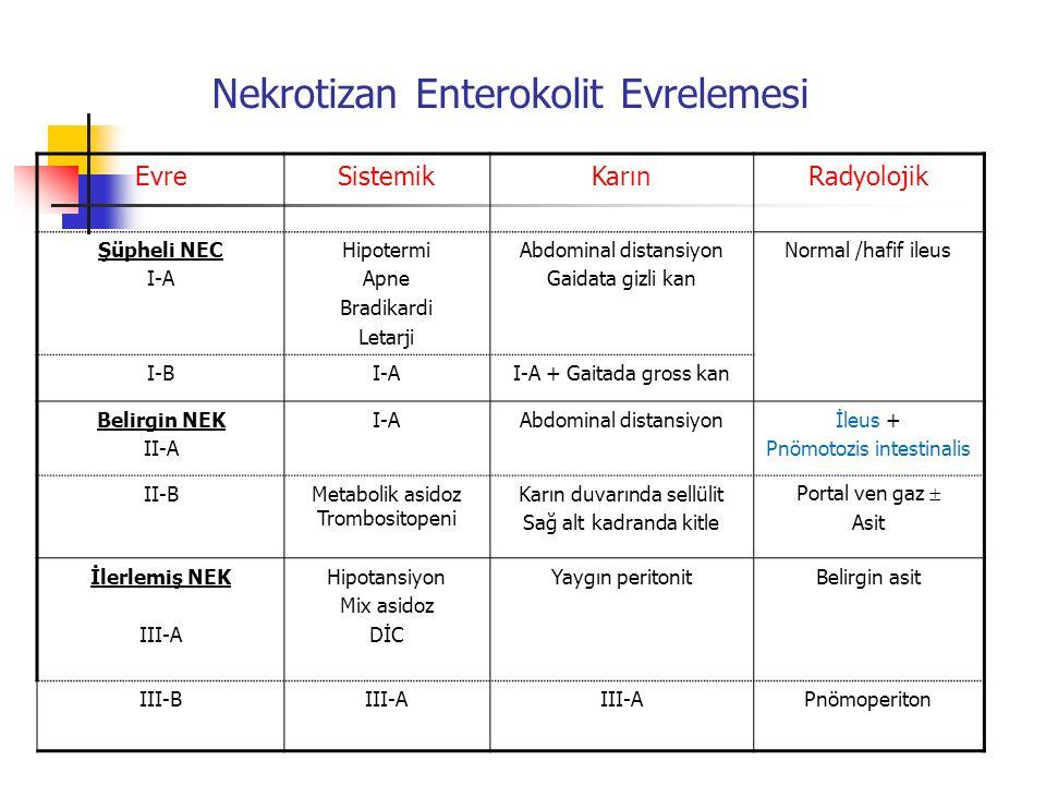 Nekrotizan Enterokolit Evrelemesi EvreSistemikKarınRadyolojik Şüpheli NEC I-A Hipotermi Apne Bradikardi Letarji Abdominal distansiyon Gaidata gizli ka