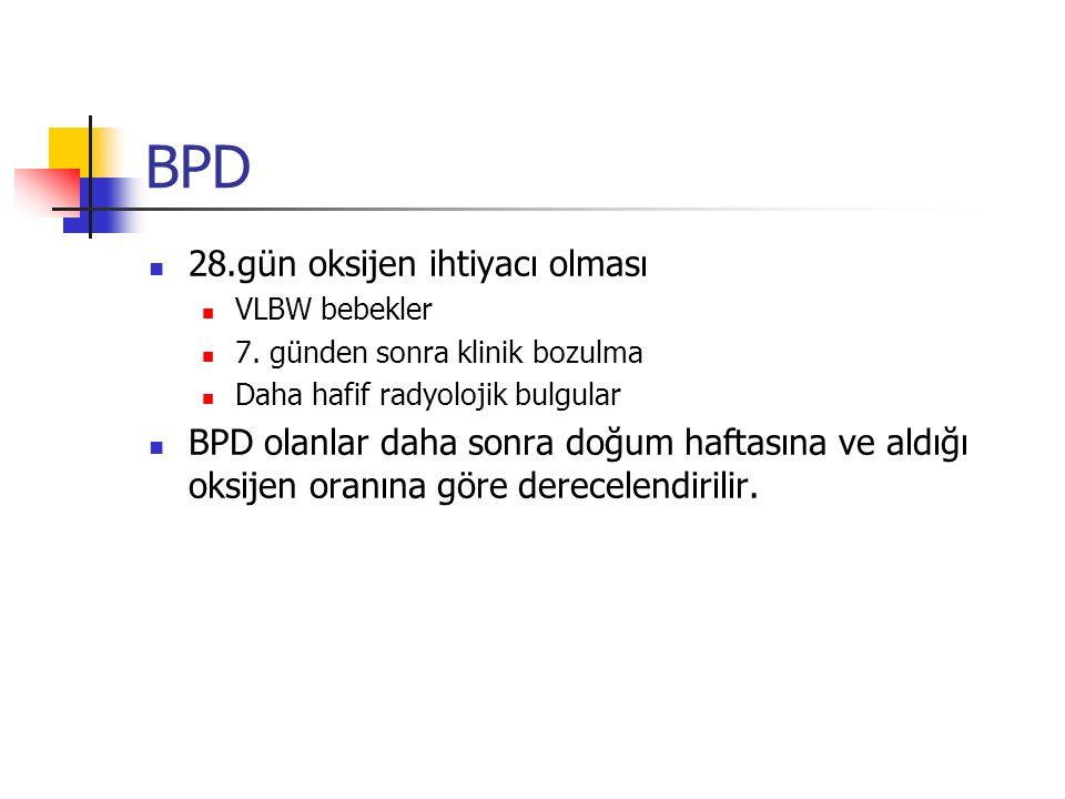 BPD 28.gün oksijen ihtiyacı olması VLBW bebekler 7.