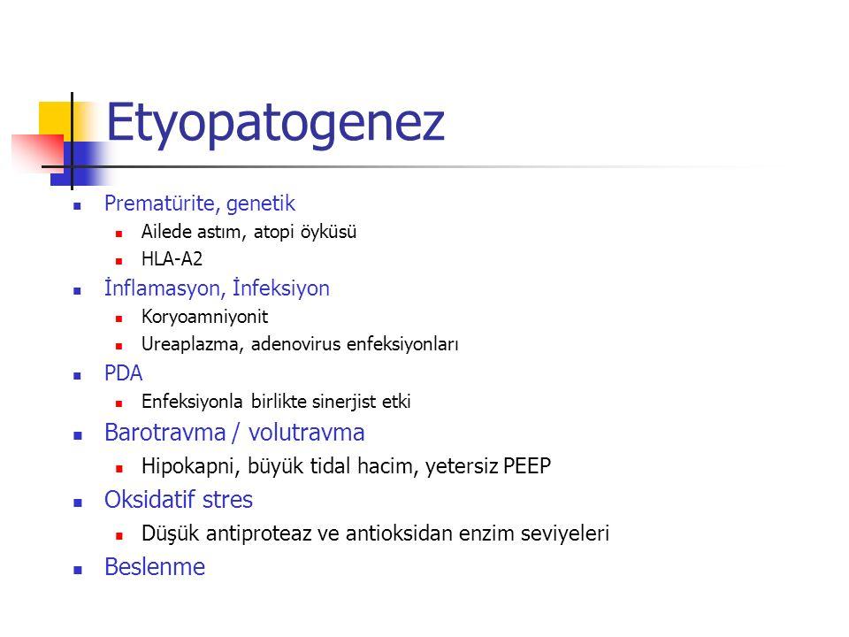 Etyopatogenez Prematürite, genetik Ailede astım, atopi öyküsü HLA-A2 İnflamasyon, İnfeksiyon Koryoamniyonit Ureaplazma, adenovirus enfeksiyonları PDA Enfeksiyonla birlikte sinerjist etki Barotravma / volutravma Hipokapni, büyük tidal hacim, yetersiz PEEP Oksidatif stres Düşük antiproteaz ve antioksidan enzim seviyeleri Beslenme