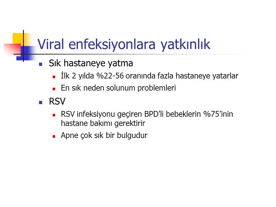 Viral enfeksiyonlara yatkınlık Sık hastaneye yatma İlk 2 yılda %22-56 oranında fazla hastaneye yatarlar En sık neden solunum problemleri RSV RSV infeksiyonu geçiren BPD'li bebeklerin %75'inin hastane bakımı gerektirir Apne çok sık bir bulgudur