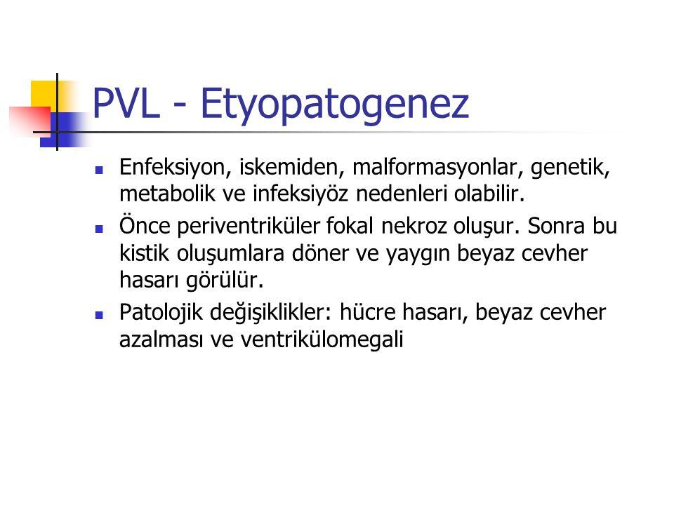 PVL - Etyopatogenez Enfeksiyon, iskemiden, malformasyonlar, genetik, metabolik ve infeksiyöz nedenleri olabilir. Önce periventriküler fokal nekroz olu