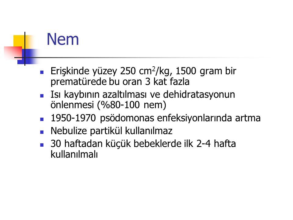 Nem Erişkinde yüzey 250 cm 2 /kg, 1500 gram bir prematürede bu oran 3 kat fazla Isı kaybının azaltılması ve dehidratasyonun önlenmesi (%80-100 nem) 1950-1970 psödomonas enfeksiyonlarında artma Nebulize partikül kullanılmaz 30 haftadan küçük bebeklerde ilk 2-4 hafta kullanılmalı