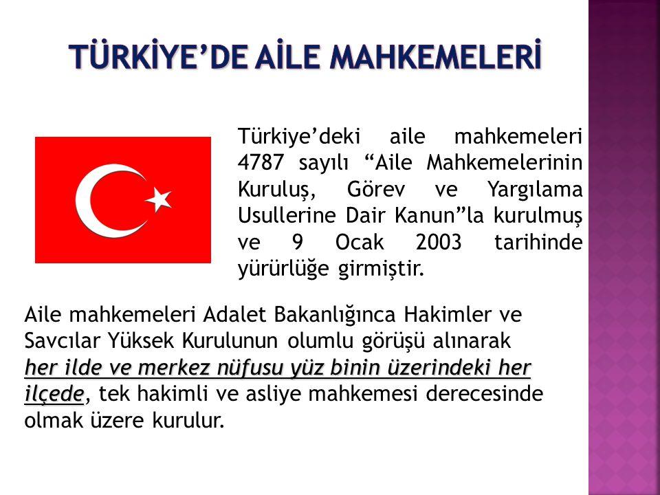 """Türkiye'deki aile mahkemeleri 4787 sayılı """"Aile Mahkemelerinin Kuruluş, Görev ve Yargılama Usullerine Dair Kanun""""la kurulmuş ve 9 Ocak 2003 tarihinde"""