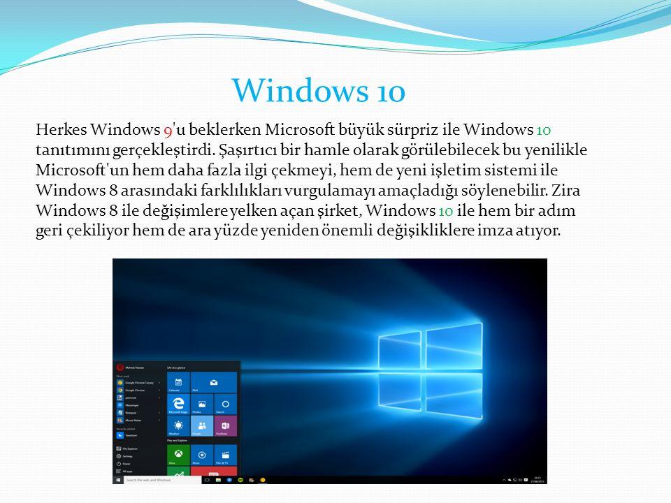 Herkes Windows 9 u beklerken Microsoft büyük sürpriz ile Windows 10 tanıtımını gerçekleştirdi.