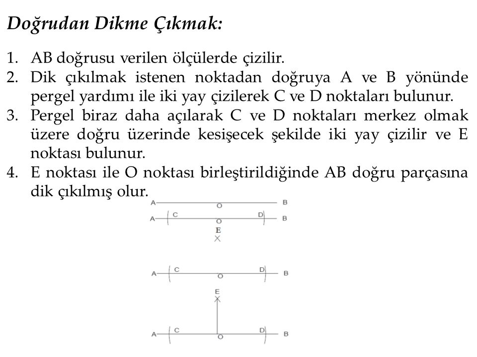 Doğrudan Dikme Çıkmak: 1.AB doğrusu verilen ölçülerde çizilir. 2.Dik çıkılmak istenen noktadan doğruya A ve B yönünde pergel yardımı ile iki yay çizil