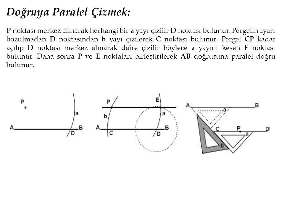 Doğruya Paralel Çizmek: P noktası merkez alınarak herhangi bir a yayı çizilir D noktası bulunur. Pergelin ayarı bozulmadan D noktasından b yayı çizile
