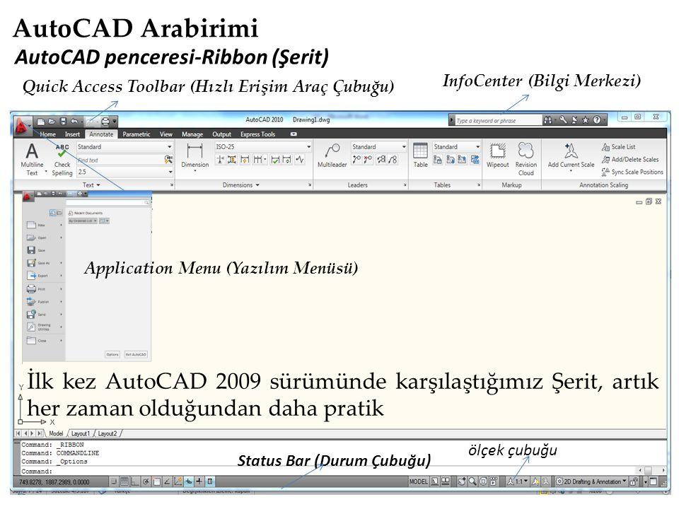 AutoCAD penceresi-Ribbon (Şerit) InfoCenter (Bilgi Merkezi) Status Bar (Durum Çubuğu) İlk kez AutoCAD 2009 sürümünde karşılaştığımız Şerit, artık her