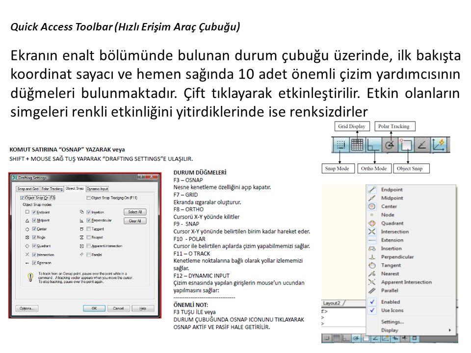 Quick Access Toolbar (Hızlı Erişim Araç Çubuğu) Ekranın enalt bölümünde bulunan durum çubuğu üzerinde, ilk bakışta koordinat sayacı ve hemen sağında 1