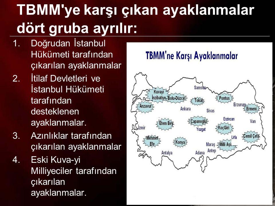 12 İstanbul Hükümetinin ayaklanma çıkarmasında –Anadolu'da kaybettiği otoritesini yeniden kurmak, –Milli Mücadeleyi sona erdirerek, Osmanlı Devleti ne uygun görülen topraklarda yaşamak, düşüncesi etkili oldu.