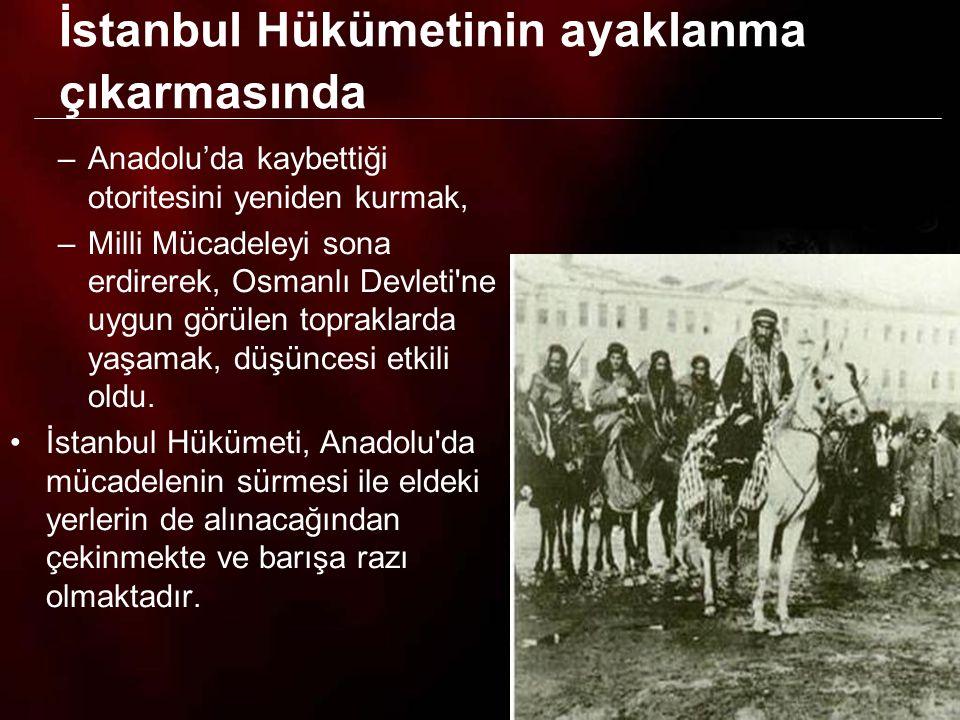 13 İstanbul Hükümeti TBMM ye karşı ayaklanma çıkarmak için; 1.Şeyhülislam dan TBMM ve Mustafa Kemal aleyhinde fetvalar çıkartarak bu fetvaları düşman uçaklarıyla Anadolu nun her tarafına dağıttırdı.