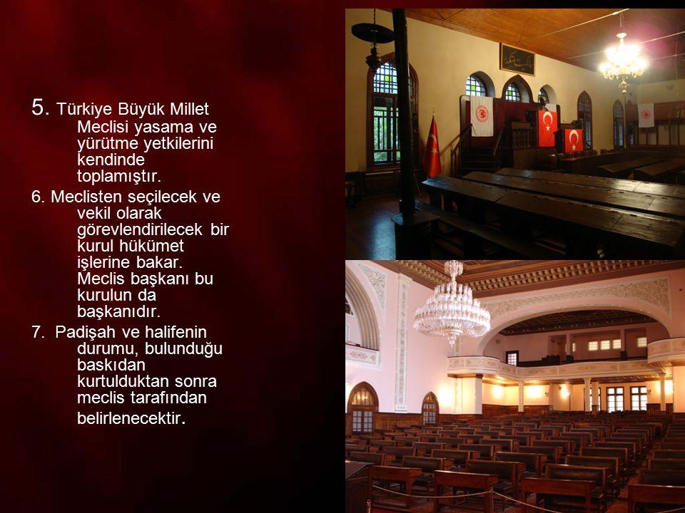 8 TBMM, Mustafa Kemal in bu önergesini kabul ederek milli egemenliğe dayalı yeni Türk devletinin temellerini atmıştır.