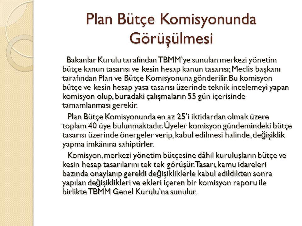 Bütçe ve Kesin Hesap Yasa Tasarının TBMM Genel Kurulunda Görüşülmesi Genel Kurulda merkezi yönetim bütçe ve kesin hesap kanun tasarılarının görüşmelerine, Maliye Bakanı'nın konuşmasıyla başlanır.