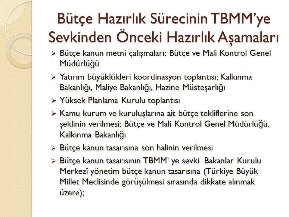 Bütçe Hazırlık Sürecinin TBMM'ye Sevkinden Önceki Hazırlık Aşamaları  Bütçe kanun metni çalışmaları; Bütçe ve Mali Kontrol Genel Müdürlü ğ ü  Yatırı