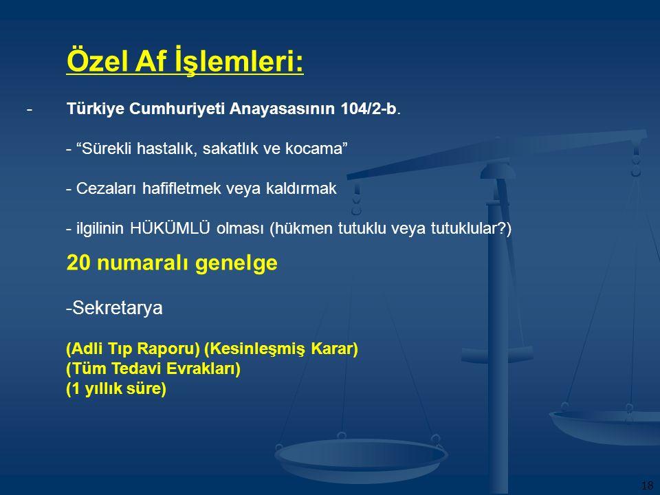 18 Özel Af İşlemleri: -Türkiye Cumhuriyeti Anayasasının 104/2-b.
