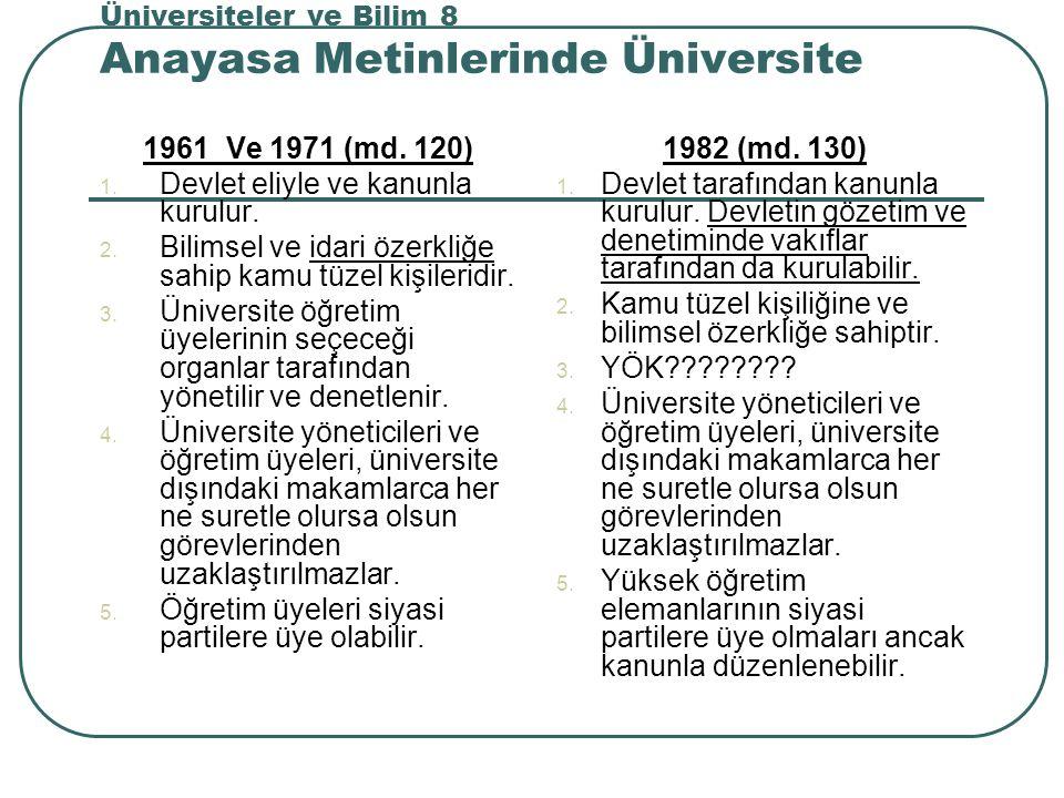 Üniversiteler ve Bilim 8 Anayasa Metinlerinde Üniversite 1961 Ve 1971 (md.