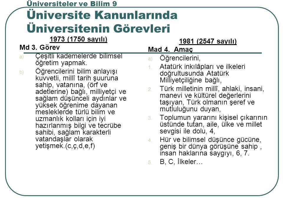 Üniversiteler ve Bilim 9 Üniversite Kanunlarında Üniversitenin Görevleri 1973 (1750 sayılı) Md 3.