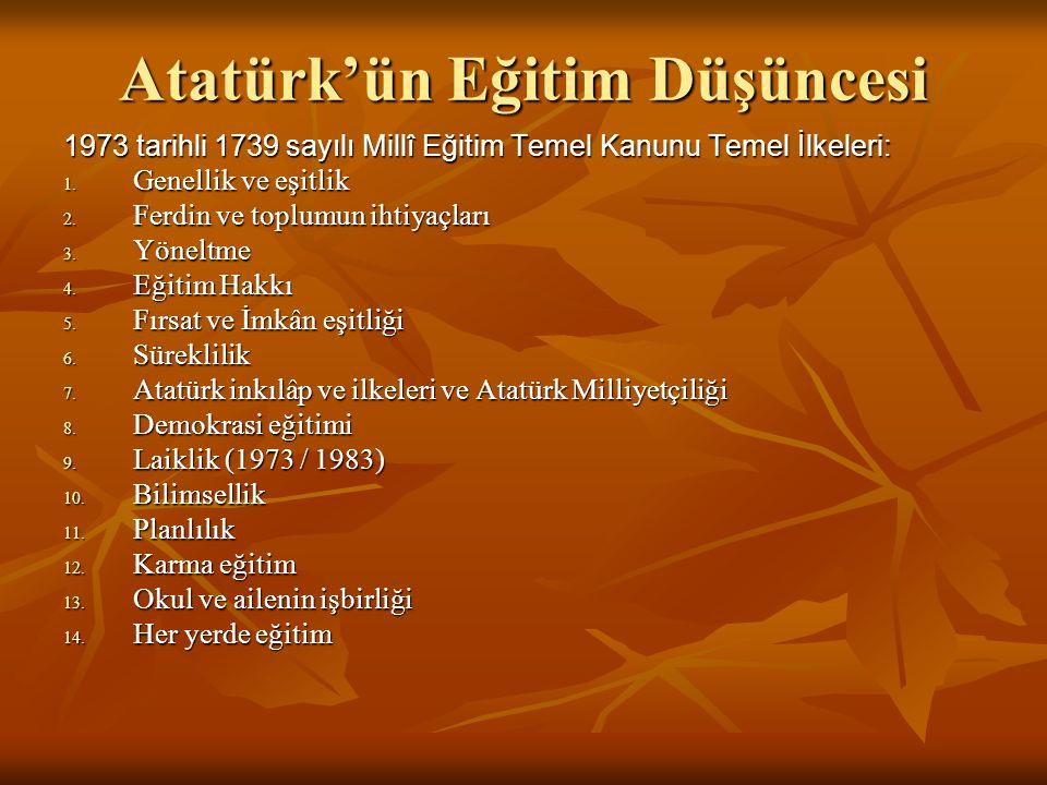 Atatürk'ün Eğitim Düşüncesi 1973 tarihli 1739 sayılı Millî Eğitim Temel Kanunu Temel İlkeleri: 1.