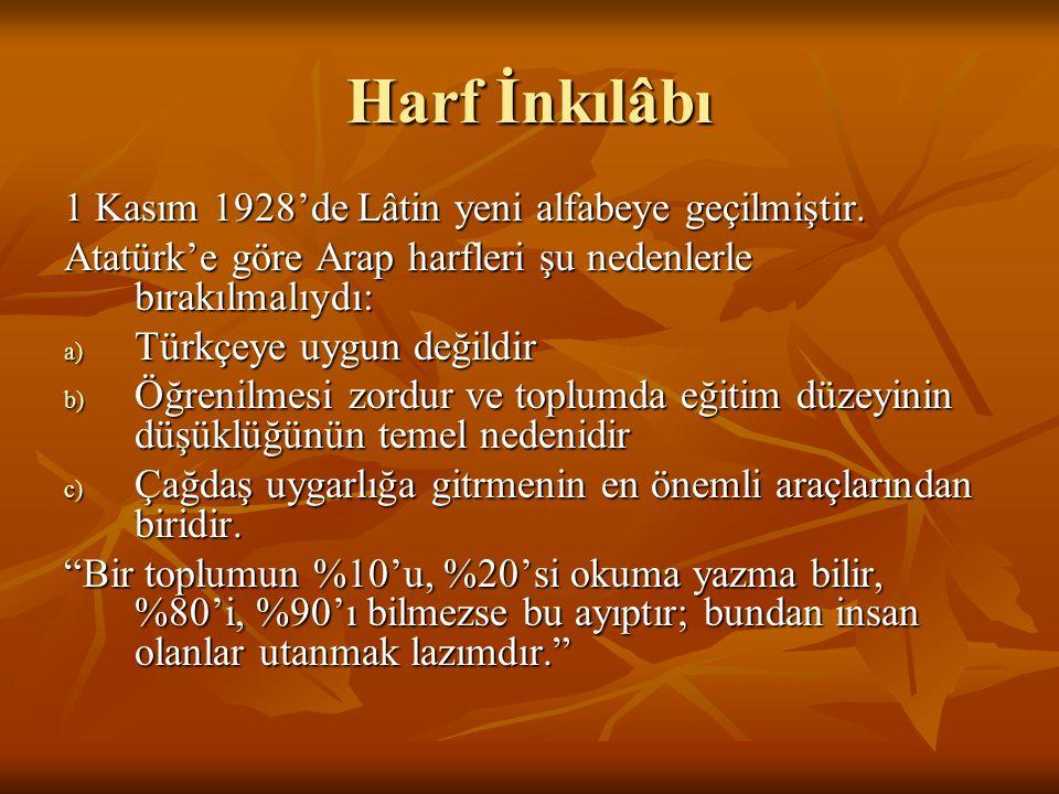 Harf İnkılâbı 1 Kasım 1928'de Lâtin yeni alfabeye geçilmiştir.