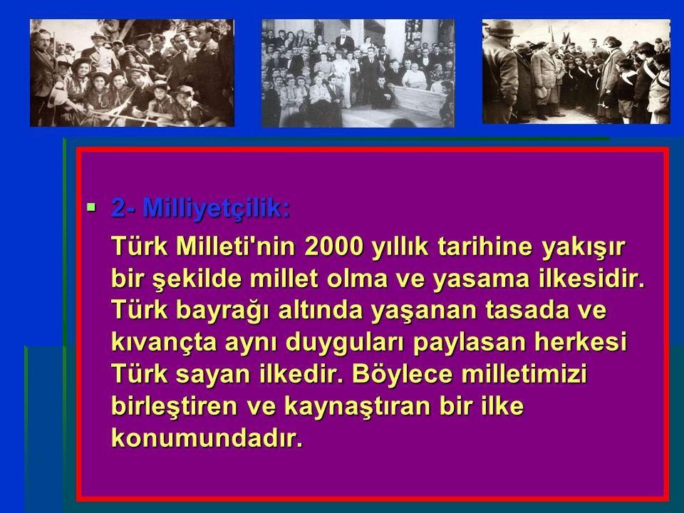  2- Milliyetçilik: Türk Milleti'nin 2000 yıllık tarihine yakışır bir şekilde millet olma ve yasama ilkesidir. Türk bayrağı altında yaşanan tasada ve