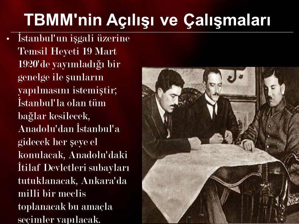 4 Mebuslar Meclisi nden kaçabilen milletvekilleri ve yeni seçilen milletvekillerinin katılımıyla 23 Nisan 1920 Cuma günü 120 milletvekilinin katılımıyla TBMM açıldı.