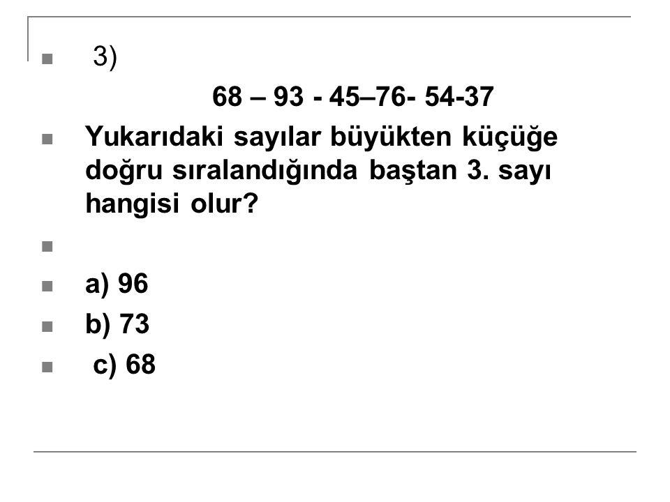 3) 68 – 93 - 45–76- 54-37 Yukarıdaki sayılar büyükten küçüğe doğru sıralandığında baştan 3. sayı hangisi olur? a) 96 b) 73 c) 68