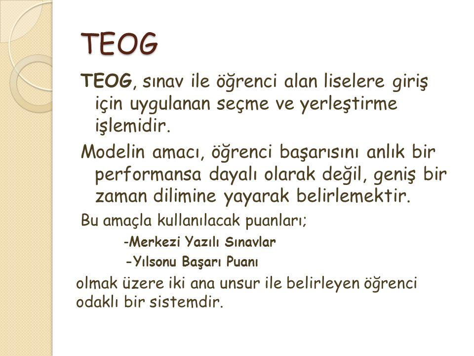 TEOG TEOG, sınav ile öğrenci alan liselere giriş için uygulanan seçme ve yerleştirme işlemidir. Modelin amacı, öğrenci başarısını anlık bir performans