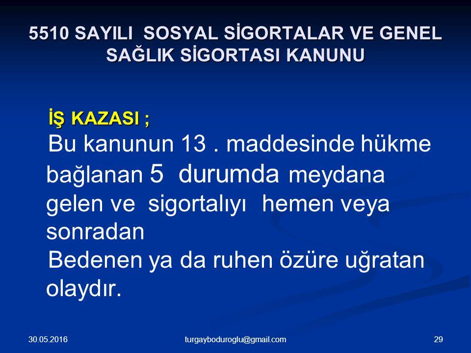 30.05.2016 28 İŞ KAZASI  Beklenmeyen,  İstenmeyen,  Planlanmayan,  Sonuçta insan ve/veya eşyaya zarar veren, Bir olay olarak tanımlamaktadır.