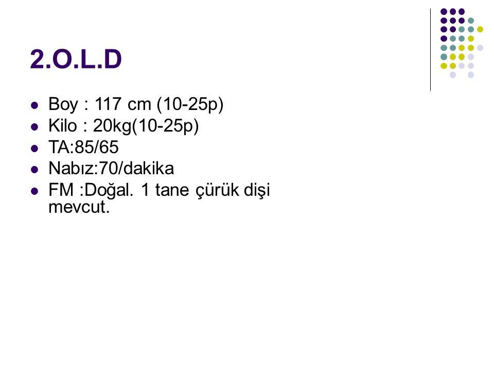 2.O.L.D Boy : 117 cm (10-25p) Kilo : 20kg(10-25p) TA:85/65 Nabız:70/dakika FM :Doğal.