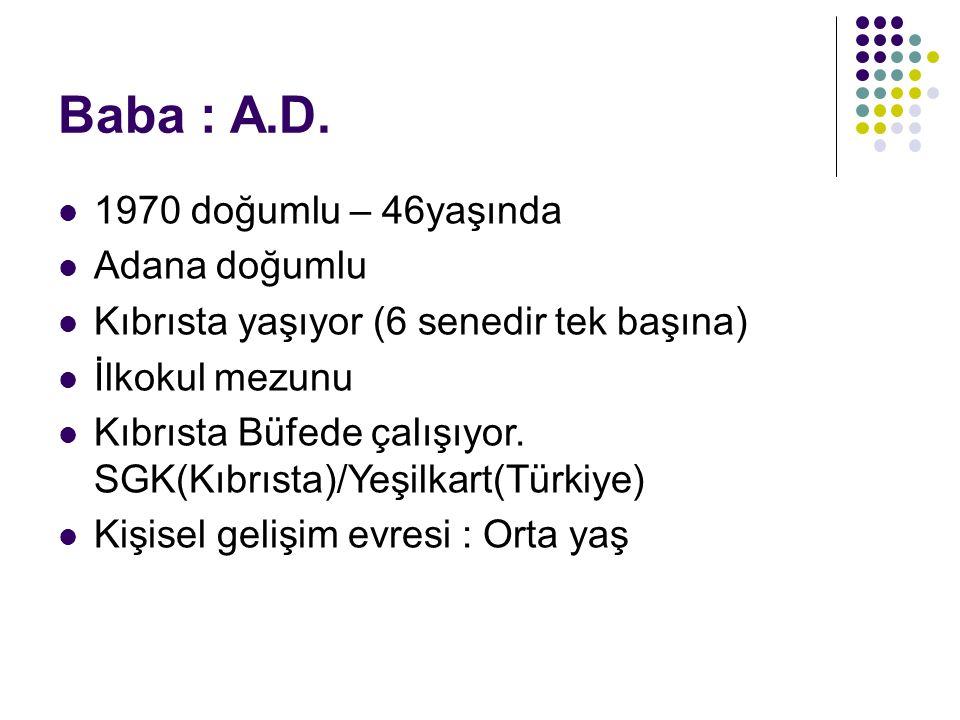 Baba : A.D. 1970 doğumlu – 46yaşında Adana doğumlu Kıbrısta yaşıyor (6 senedir tek başına) İlkokul mezunu Kıbrısta Büfede çalışıyor. SGK(Kıbrısta)/Yeş