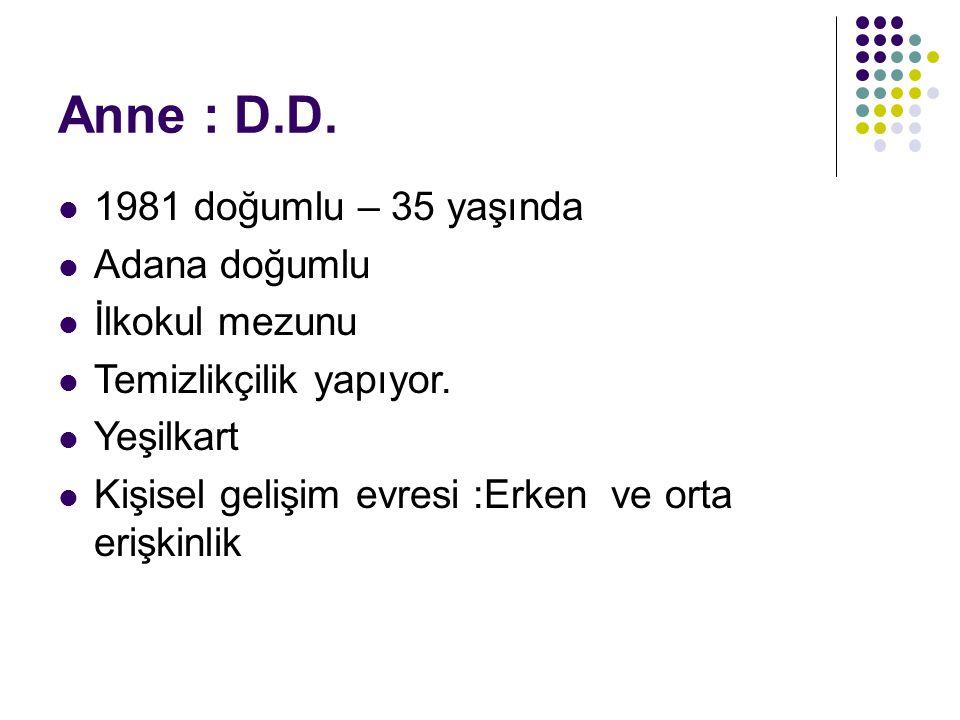 Anne : D.D. 1981 doğumlu – 35 yaşında Adana doğumlu İlkokul mezunu Temizlikçilik yapıyor.