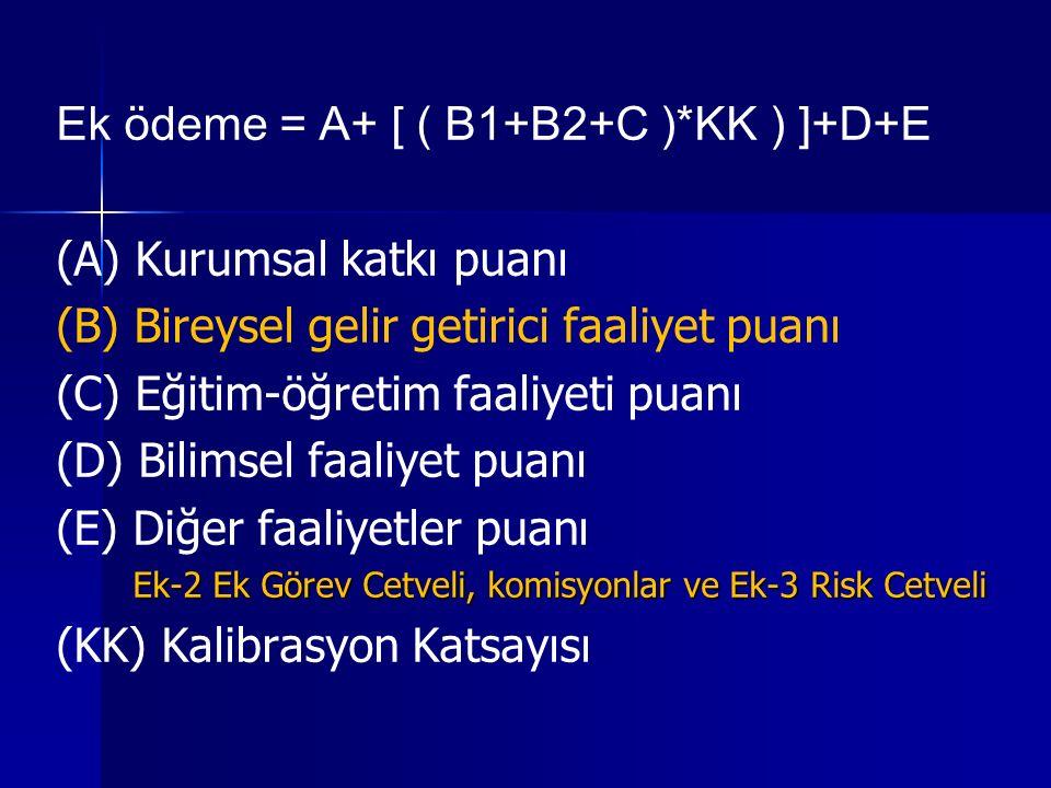 Ek ödeme = A+ [ ( B1+B2+C )*KK ) ]+D+E (A) Kurumsal katkı puanı (B) Bireysel gelir getirici faaliyet puanı (C) Eğitim-öğretim faaliyeti puanı (D) Bilimsel faaliyet puanı (E) Diğer faaliyetler puanı Ek-2 Ek Görev Cetveli, komisyonlar ve Ek-3 Risk Cetveli Ek-2 Ek Görev Cetveli, komisyonlar ve Ek-3 Risk Cetveli (KK) Kalibrasyon Katsayısı