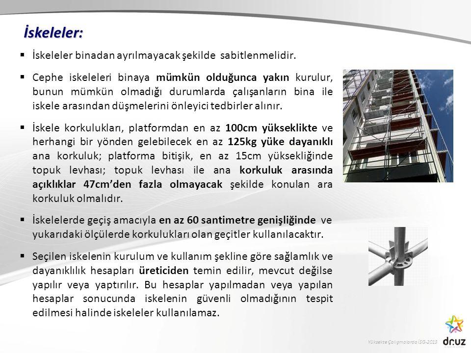 Yüksekte Çalışmalarda İSG-2013  İskeleler binadan ayrılmayacak şekilde sabitlenmelidir.  Cephe iskeleleri binaya mümkün olduğunca yakın kurulur, bun