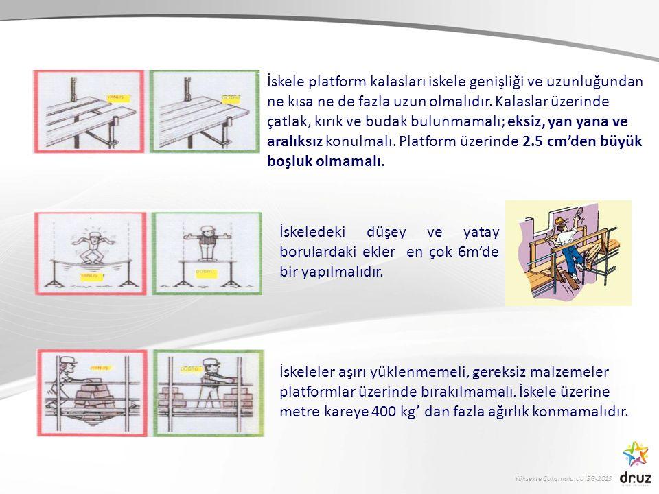 Yüksekte Çalışmalarda İSG-2013 İskeleler aşırı yüklenmemeli, gereksiz malzemeler platformlar üzerinde bırakılmamalı. İskele üzerine metre kareye 400 k