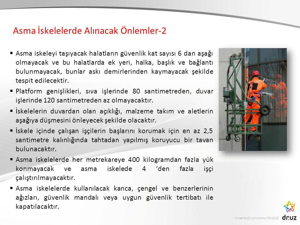 Yüksekte Çalışmalarda İSG-2013  Asma iskeleyi taşıyacak halatların güvenlik kat sayısı 6 dan aşağı olmayacak ve bu halatlarda ek yeri, halka, başlık