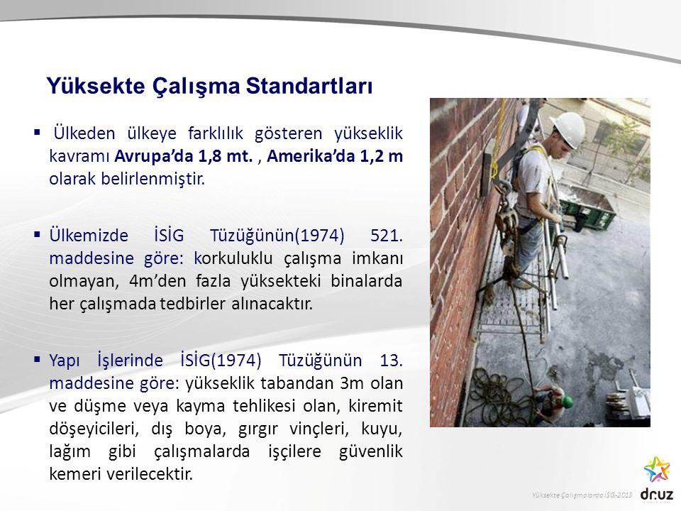 Yüksekte Çalışmalarda İSG-2013  Ülkeden ülkeye farklılık gösteren yükseklik kavramı Avrupa'da 1,8 mt., Amerika'da 1,2 m olarak belirlenmiştir.  Ülke