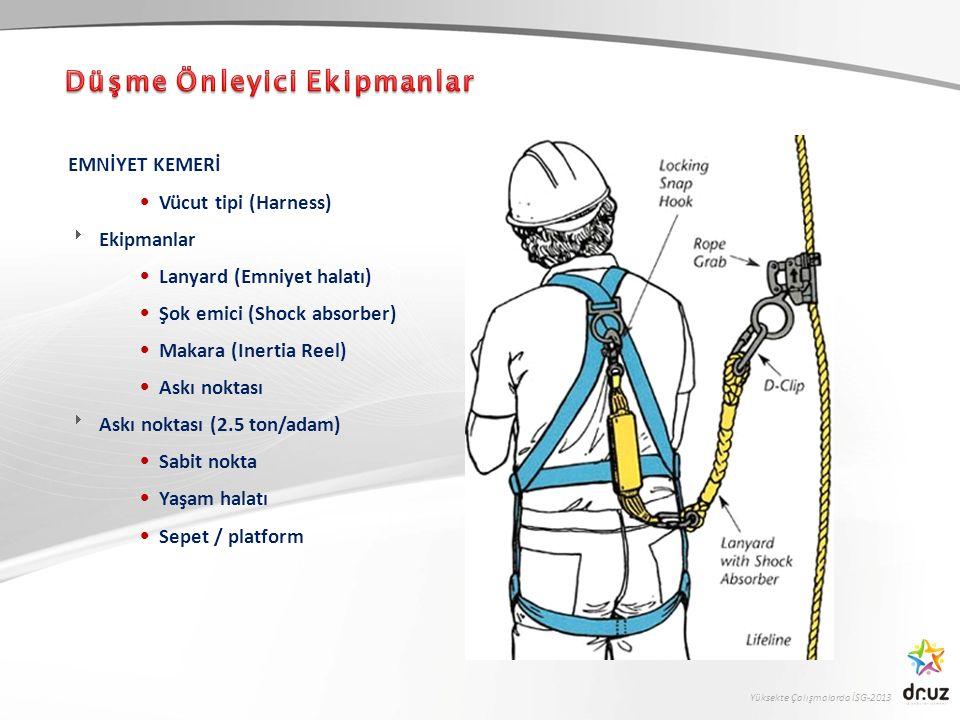 Yüksekte Çalışmalarda İSG-2013 EMNİYET KEMERİ Vücut tipi (Harness)  Ekipmanlar Lanyard (Emniyet halatı) Şok emici (Shock absorber) Makara (Inertia Re