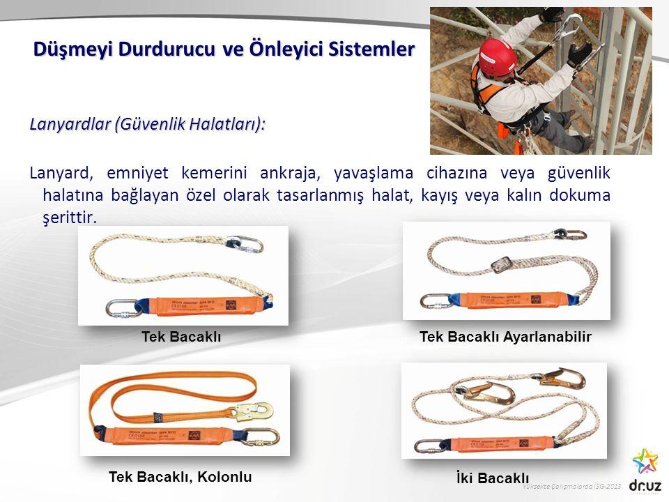 Yüksekte Çalışmalarda İSG-2013 Lanyardlar (Güvenlik Halatları): Lanyard, emniyet kemerini ankraja, yavaşlama cihazına veya güvenlik halatına bağlayan
