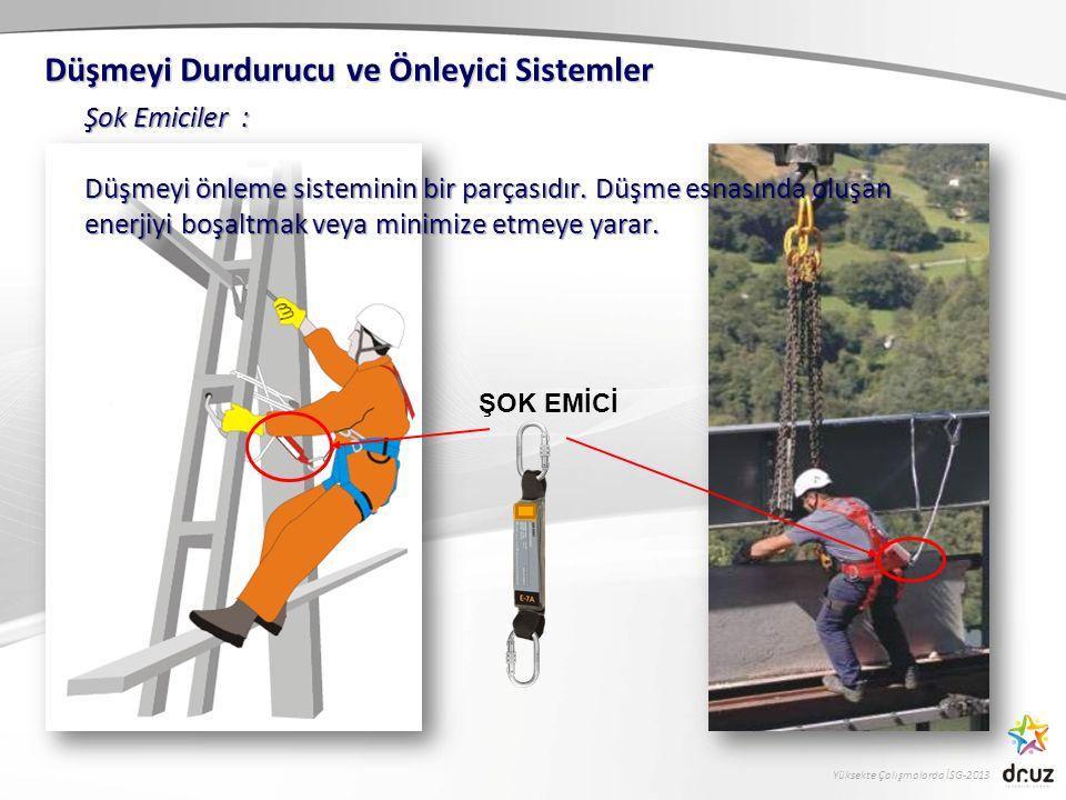 Yüksekte Çalışmalarda İSG-2013 Düşmeyi Durdurucu ve Önleyici Sistemler ŞOK EMİCİ Şok Emiciler : Düşmeyi önleme sisteminin bir parçasıdır. Düşme esnası