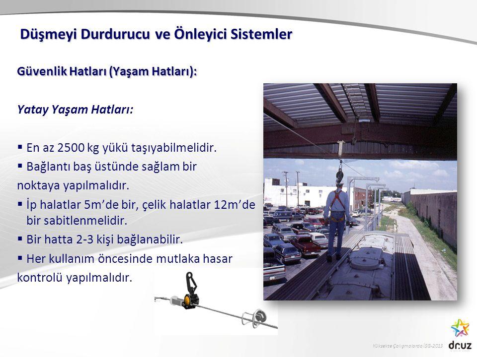 Yüksekte Çalışmalarda İSG-2013 Güvenlik Hatları (Yaşam Hatları): Yatay Yaşam Hatları:  En az 2500 kg yükü taşıyabilmelidir.  Bağlantı baş üstünde sa