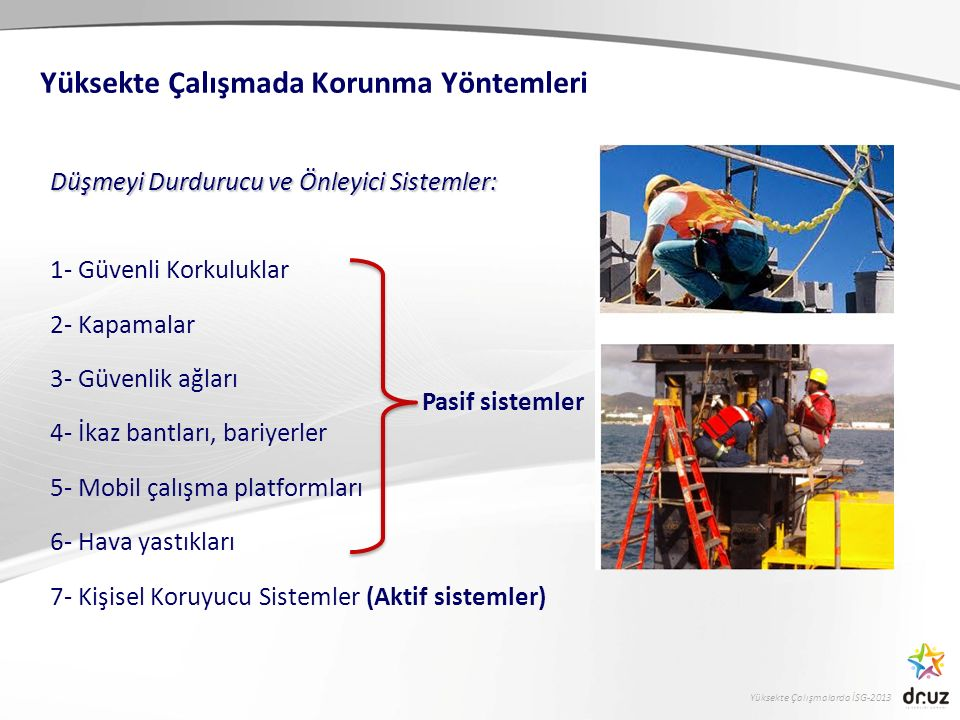 Yüksekte Çalışmalarda İSG-2013 Düşmeyi Durdurucu ve Önleyici Sistemler: 1- Güvenli Korkuluklar 2- Kapamalar 3- Güvenlik ağları 4- İkaz bantları, bariy
