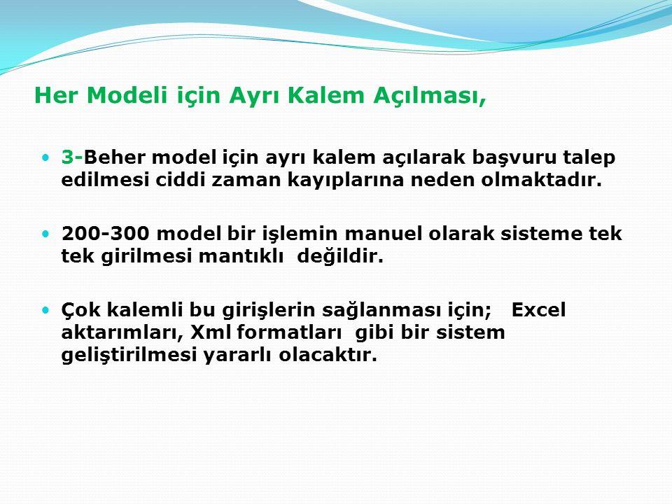 Her Modeli için Ayrı Kalem Açılması, 3-Beher model için ayrı kalem açılarak başvuru talep edilmesi ciddi zaman kayıplarına neden olmaktadır.