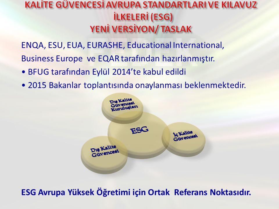 ENQA, ESU, EUA, EURASHE, Educational International, Business Europe ve EQAR tarafından hazırlanmıştır.