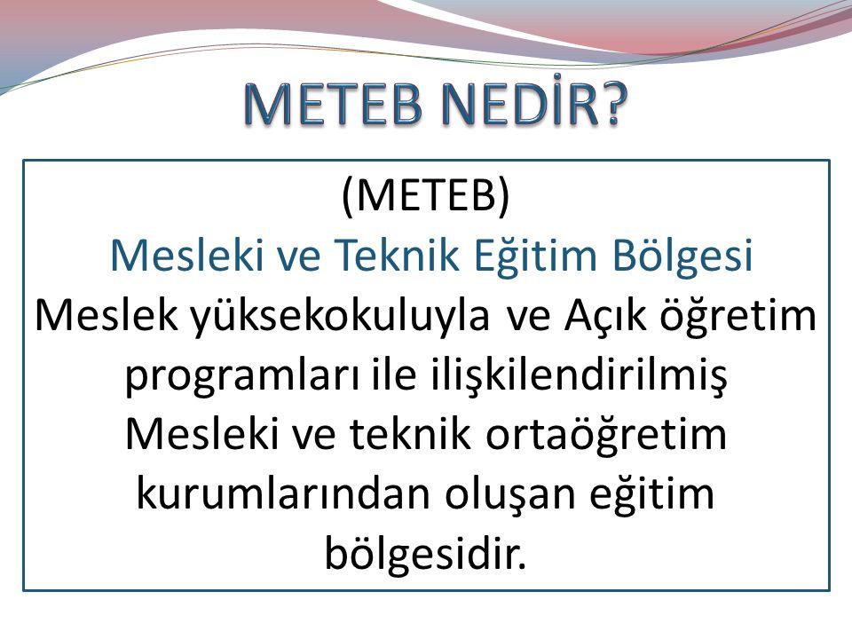 (METEB) Mesleki ve Teknik Eğitim Bölgesi Meslek yüksekokuluyla ve Açık öğretim programları ile ilişkilendirilmiş Mesleki ve teknik ortaöğretim kurumlarından oluşan eğitim bölgesidir.