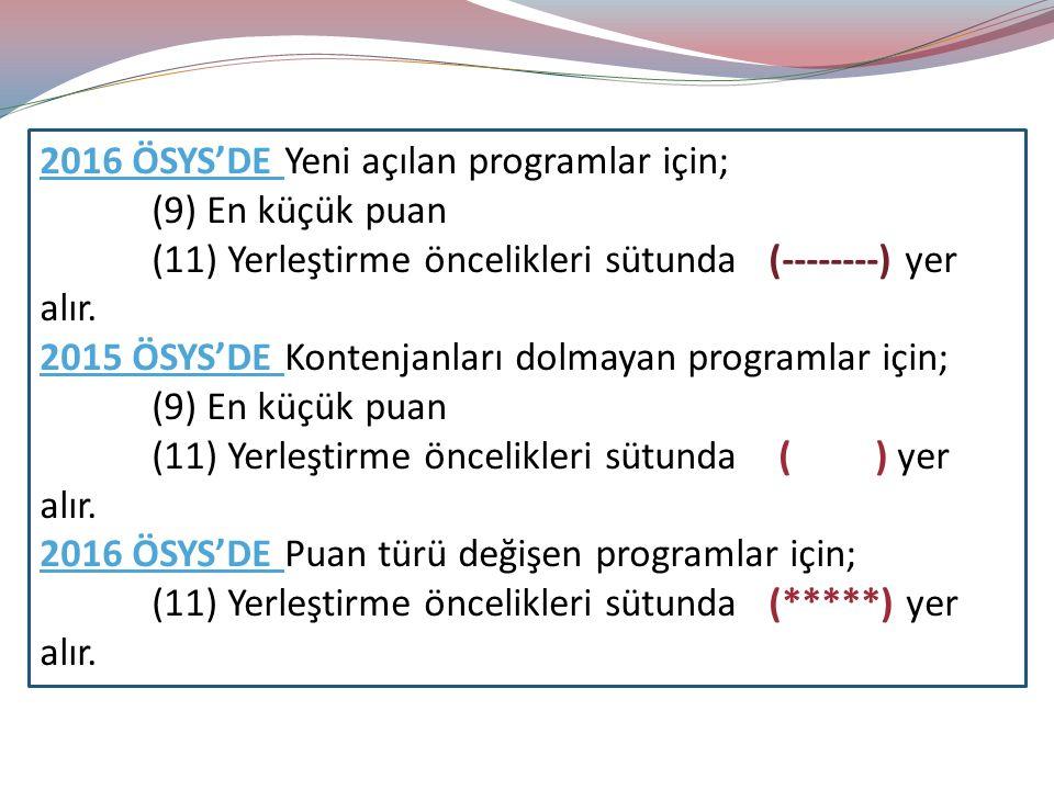 2016 ÖSYS'DE Yeni açılan programlar için; (9) En küçük puan (11) Yerleştirme öncelikleri sütunda (--------) yer alır.