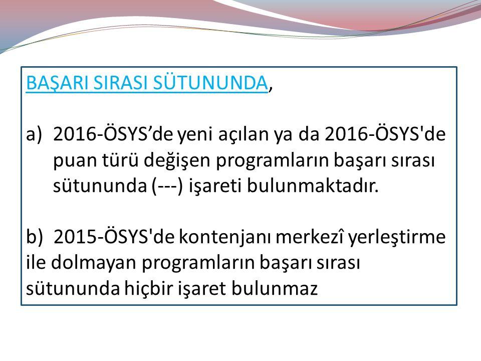 BAŞARI SIRASI SÜTUNUNDA, a)2016-ÖSYS'de yeni açılan ya da 2016-ÖSYS de puan türü değişen programların başarı sırası sütununda (---) işareti bulunmaktadır.