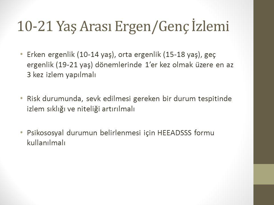 10-21 Yaş Arası Ergen/Genç İzlemi Erken ergenlik (10-14 yaş), orta ergenlik (15-18 yaş), geç ergenlik (19-21 yaş) dönemlerinde 1'er kez olmak üzere e