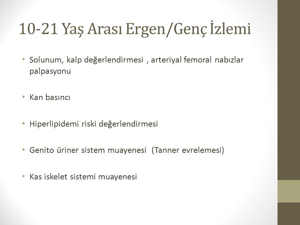 10-21 Yaş Arası Ergen/Genç İzlemi Solunum, kalp değerlendirmesi, arteriyal femoral nabızlar palpasyonu Kan basıncı Hiperlipidemi riski değerlendirmesi
