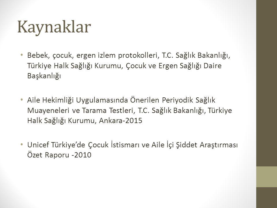 Kaynaklar Bebek, çocuk, ergen izlem protokolleri, T.C. Sağlık Bakanlığı, Türkiye Halk Sağlığı Kurumu, Çocuk ve Ergen Sağlığı Daire Başkanlığı Aile Hek